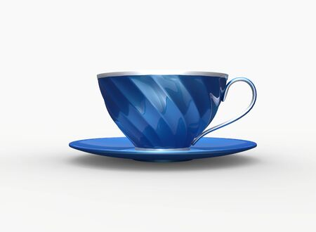 Metallic blue and silver cup of  tea - side view