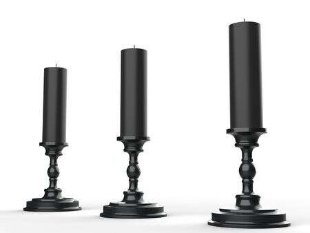 Three black wax candle on black candle holders 写真素材 - 131137172