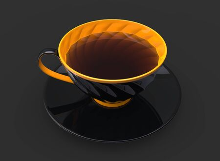 Cup of tea - black cup with yellow inside and details 写真素材