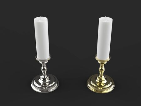 Silver and gold candle holders with white wax candles - top view 写真素材