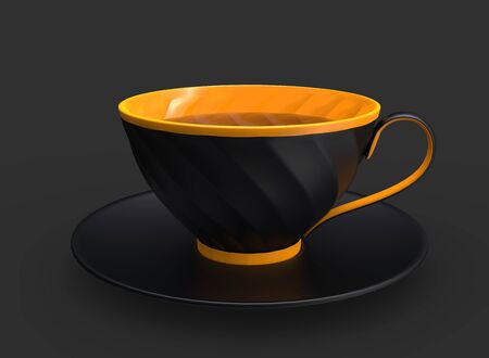 Matte black and yelllow cup of  tea - side view