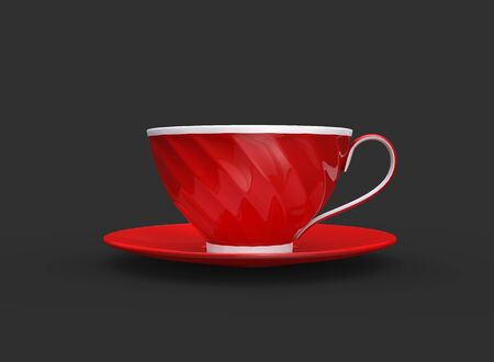 Red and white cup of  tea - side view 写真素材