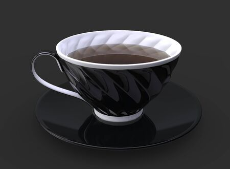 Black cup of tea with white details