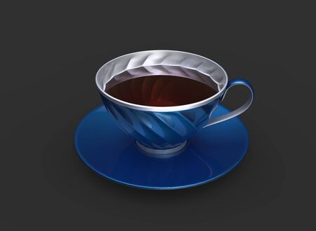 Cup of red tea in metallic blue and silver cup