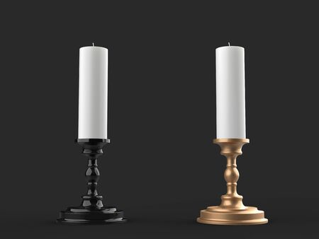 White wax candles on black and gold candleholders