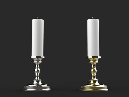 Silver and gold candle holders with white wax candles