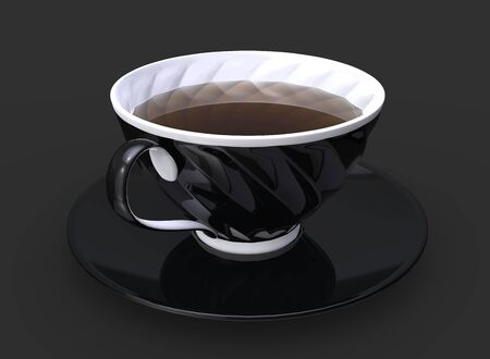 Cup of tea - black cup with white inside and details
