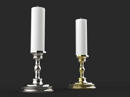 Silver and gold candle holders with white wax candles - low angle 写真素材 - 131137253