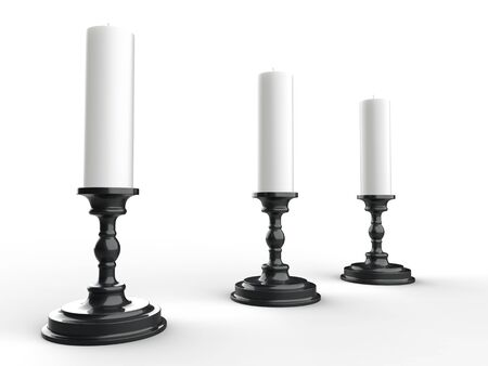 Three white wax candles on black shiny candle holders 写真素材