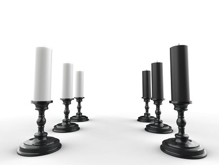 Black and white candles on black candle holders
