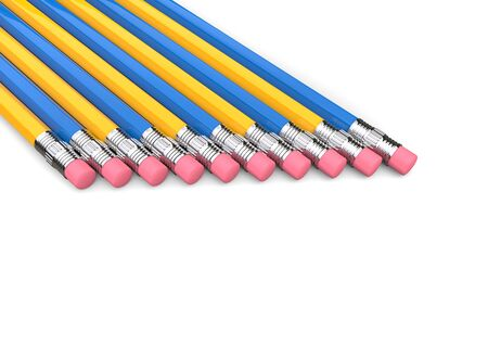 Group of yellow and blue pencils in a row, eraser ends 写真素材 - 131621140