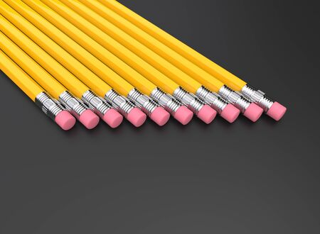 Yellow graphite pencils in a row on a dark background 写真素材 - 131621004