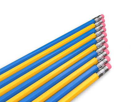 Eraser ends of blue and yellow pencils in a row 写真素材