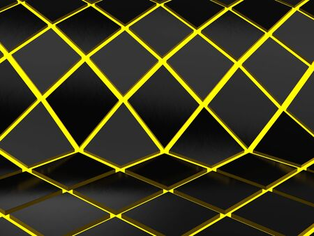 Abstract geometric yellow neon background