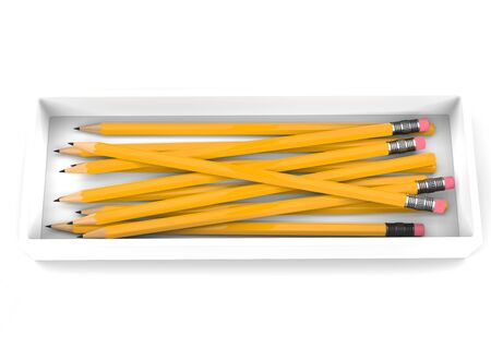 Box of normal yellow graphite pencils