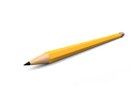 Normal yellow graphite pecil with eraser - closep shot 写真素材