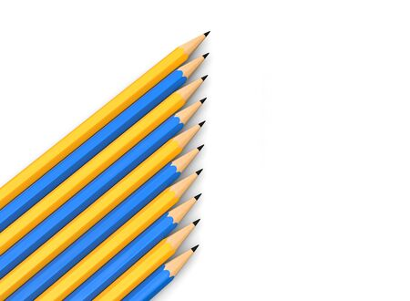 Yellow and blue graphite pencils