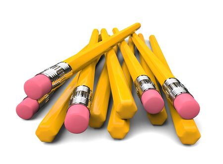 Bunch of yellow pencils, with and without erasers - back view 写真素材 - 131621025