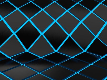 Abstract geometric blue neon background 写真素材 - 131621061