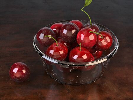 Fresh beautiful cherries in a glass bowl - top down view