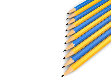 Blue and yellow graphite pencils stacked neatly in a row
