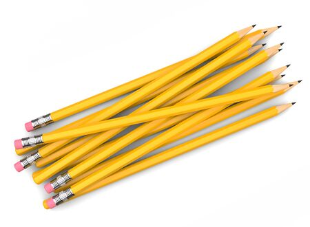 Bunch of yellow pencils, with and without erasers - top down view 写真素材