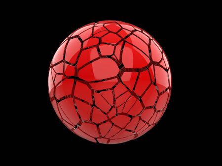 Red sphere shattered into hundred pieces 写真素材 - 131621954