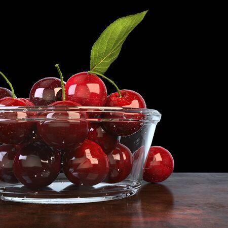 Fresh beautiful cherries in a glass bowl - cut shot