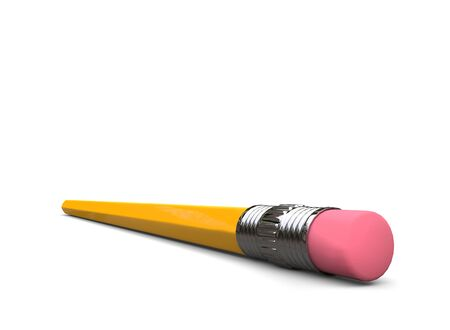 Normal yellow graphite pecil with eraser - closep shot of the eraser Фото со стока