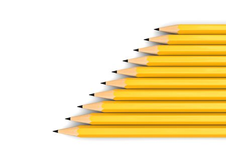 Yellow graphite pencils stacked in a neat diagonal row