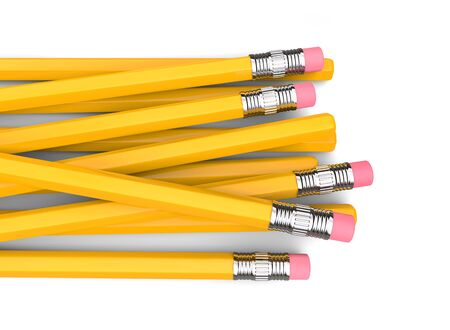 Basic yellow pencils with erasers on the back end - top down view 写真素材 - 131621872