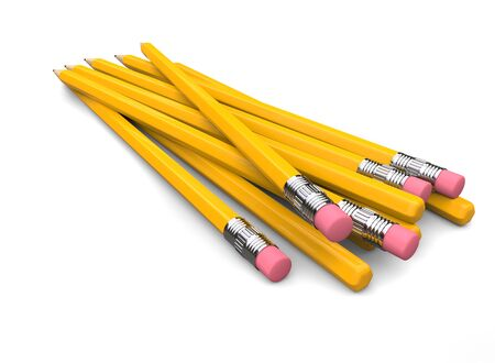 Back ends of the normal school yellow pencils with erasers 写真素材 - 131621972