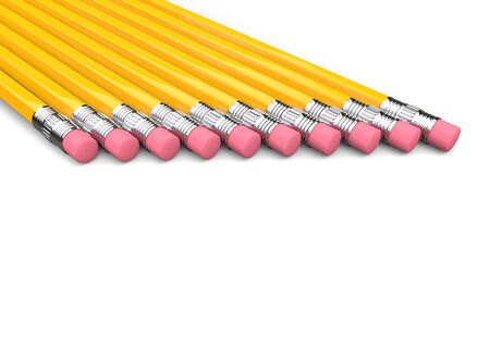 Eraser ends of yellow graphite pencils in a row