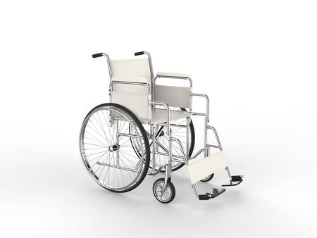 Medical wheelchair with white leather seat and metal railings