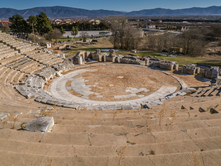 Ancient amphitheater in Philippi - Greece - shot from the top of the stands