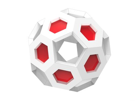 White geometric bucky ball with red details