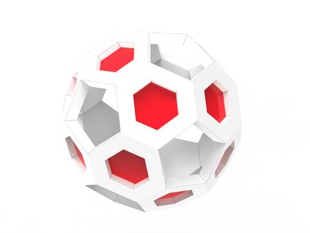 White geometric ball with red details