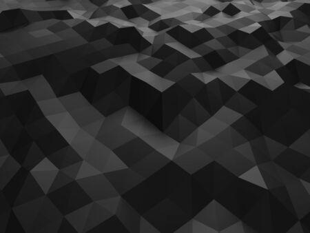 Dark grey low polygon abstract background texture Фото со стока