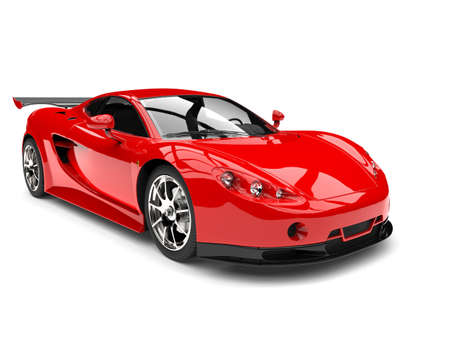 Modern bright red sports race supercar