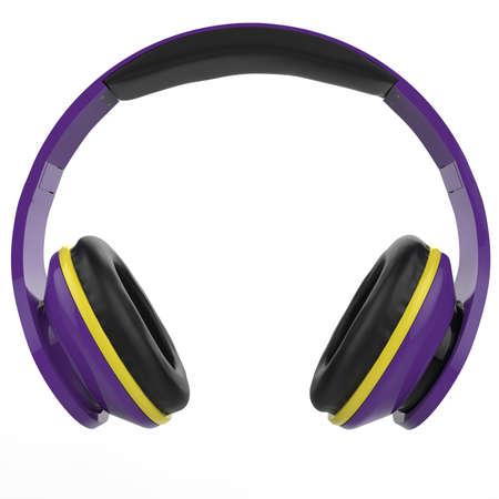 Modern wireless purple headphones with bright yellow details