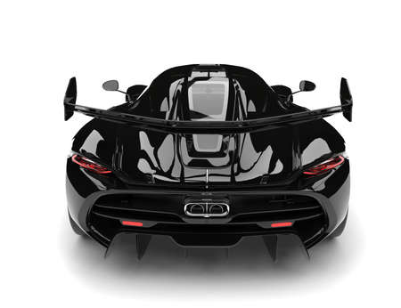 Midnight black shiny super sports car - back view