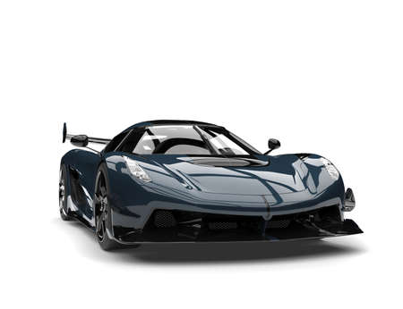 Twilight blue super sports race car - front view