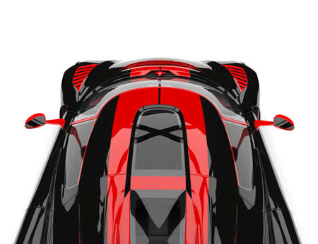 Black and red sports race super car - overhead camera view