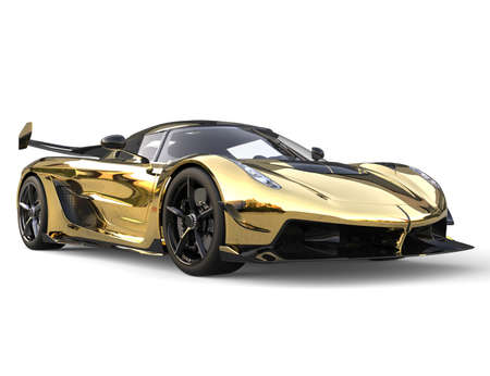 Golden race sports super car - closeup shot