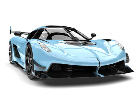 Bright sky blue race super car