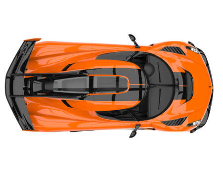 Sun orange race supercar - top down view