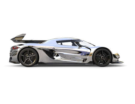 Silver race super car - side view