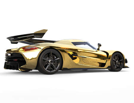 Golden race sports super car - back view
