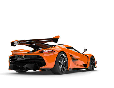 Sun orange race supercar - back view