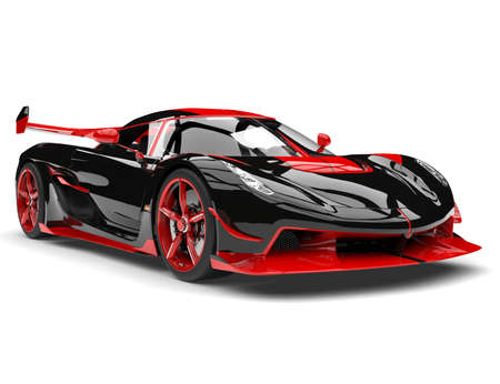 Black and red sports race super car